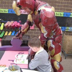 Reading a story with Iron Man